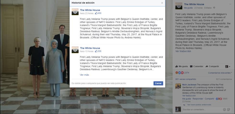 La Casa Blanca omite el nombre del esposo del primer ministro de Luxemburgo