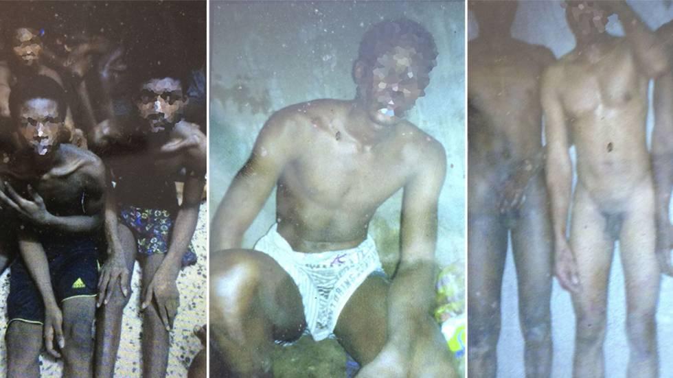 Fotografias extraídas do telefone de um imigrante retido na Líbia e entregues pela OIM. A agência explica que se trata de escravos em um mercado da Líbia, à espera de serem vendidos.  OIM