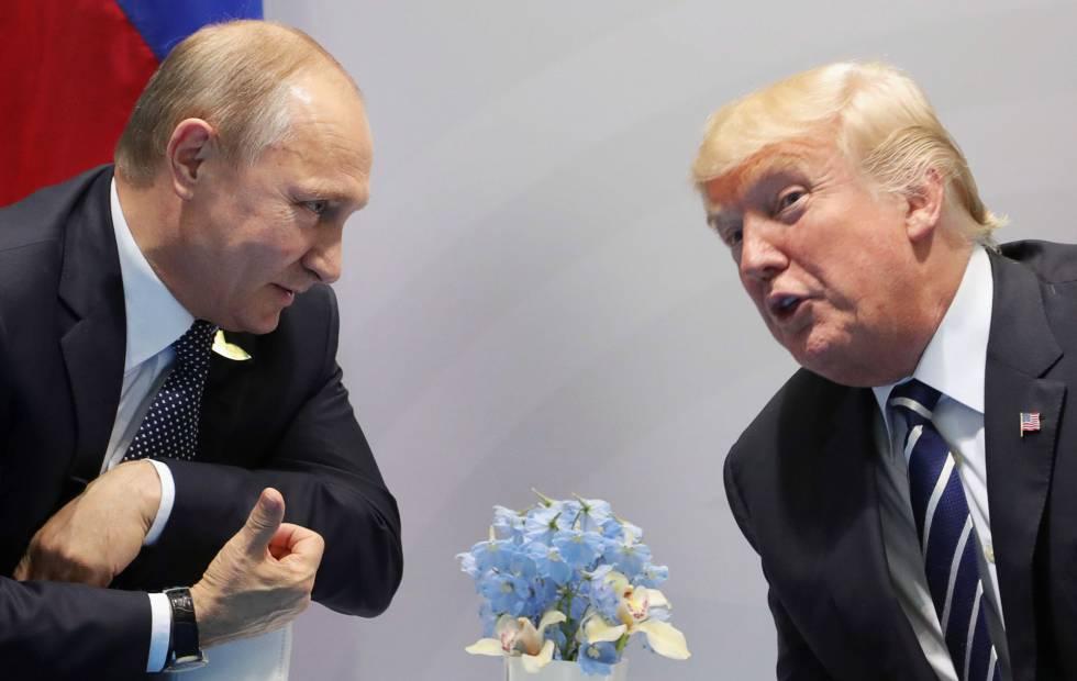 Donald Trump y Vladímir Putin en su reunión en Hamburgo.