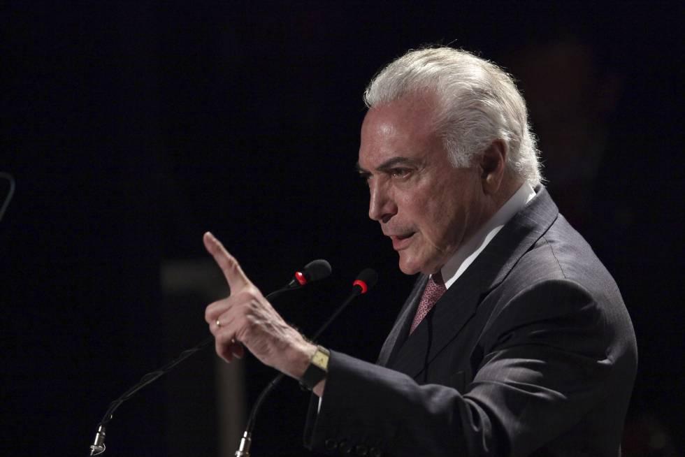 El presidente Michel Temer, ayer, durante un acto en Brasilia.