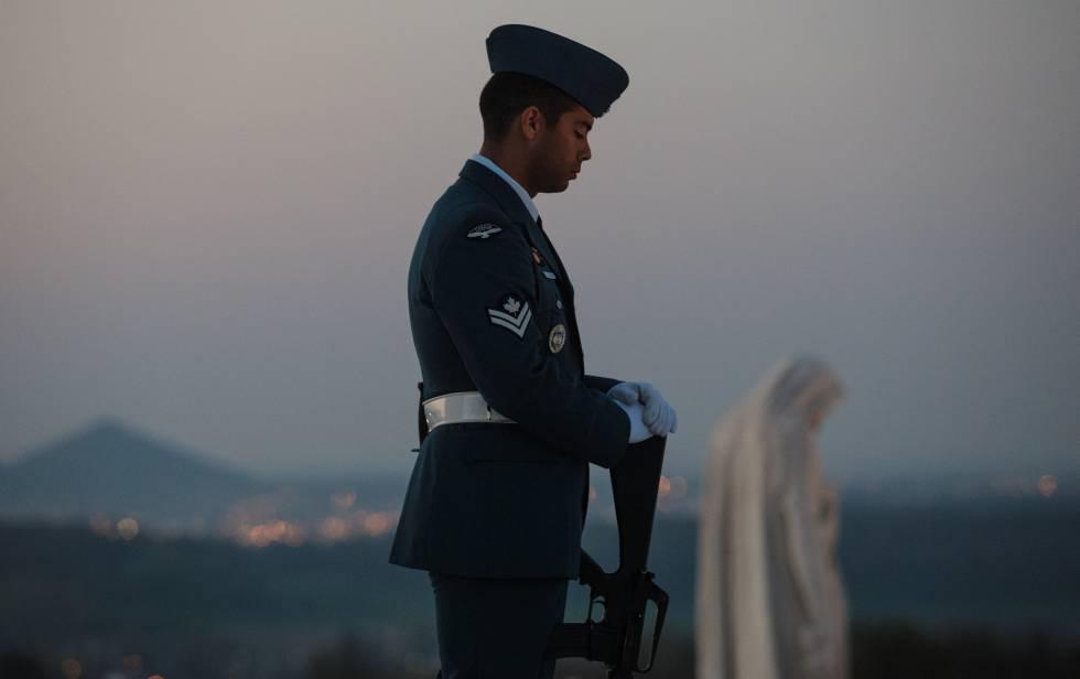 Un soldado canadiense durante una ceremonia, el pasado abril.
