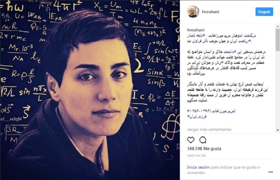 Publicación del presidente iraní en Instagram en homenaje a Maryam Mirzakhani.