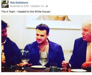 Una foto de Goldstone en Facebook junto a Trump y Emin Agalarov, publicada el día después de las elecciones presidenciales