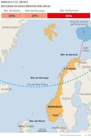 Zona donde Noruega ha permitido las últimas prospecciones petrolíferas a 13 compañías miltnacionales.
