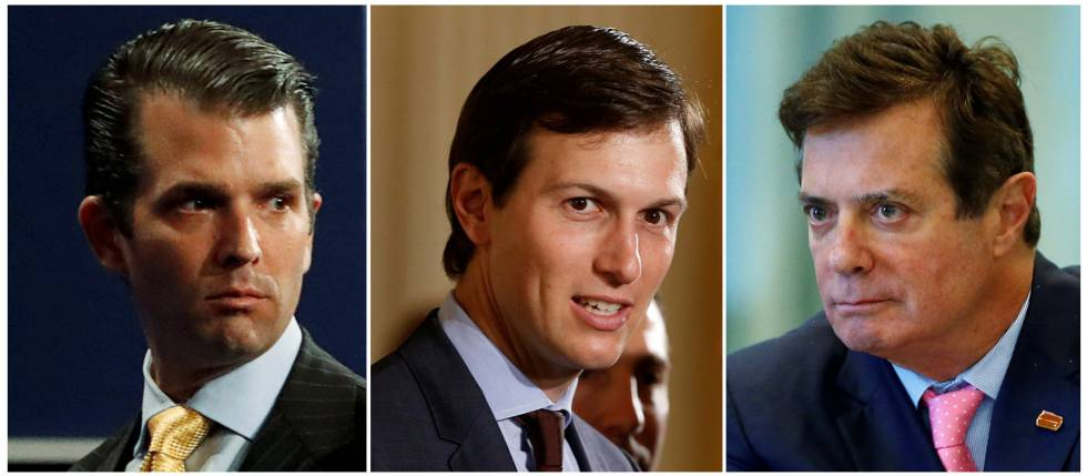 Una combinación de fotos de Donald Trump Jr., Jared Kushner y Paul Manafort