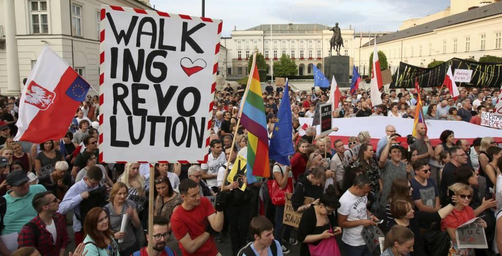Protestas en Varsovia por la reforma de la justicia, el pasado 24 de julio.