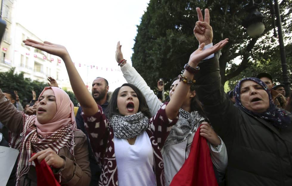 Manifestación de mujeres contra la discriminación en Túnez, en 2016.