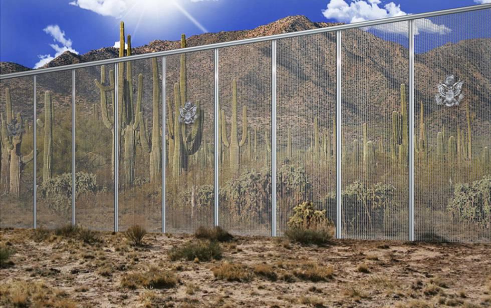 Simulación de una de las propuestas de muro entre EE UU y México presentadas por la constructora Fort Worth.