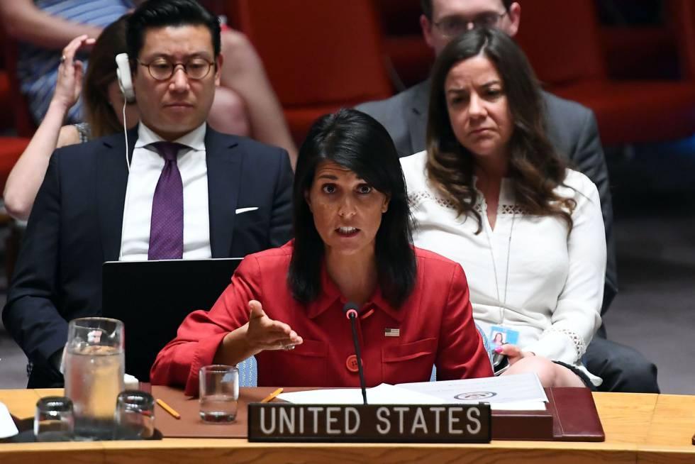 La embajadora para Estados Unidos en la ONU, Nikki Haley, el pasado julio.