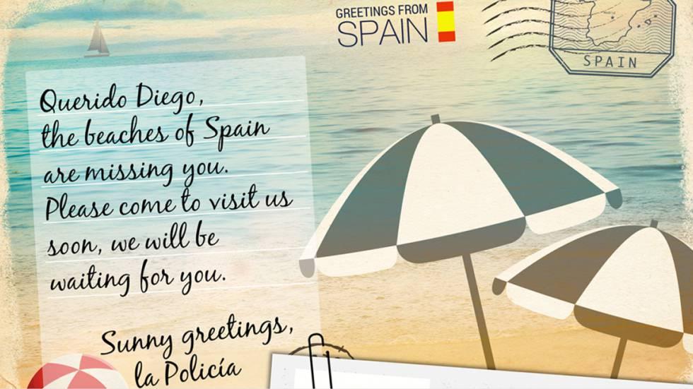Postal enviada a Diego Moreno, un español perseguido por traficar con drogas.