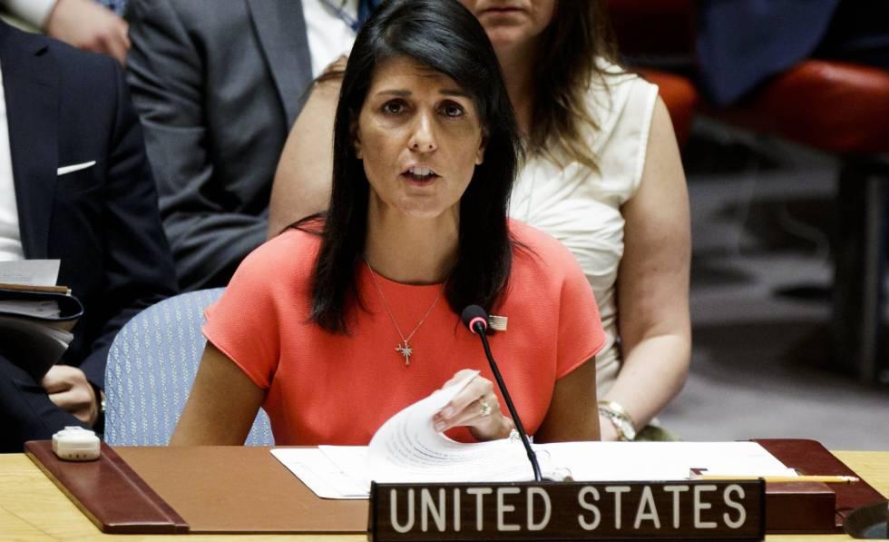 La embajadora para Estados Unidos en la ONU, Nikki Haley, este sábado.