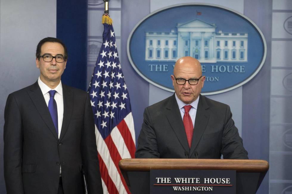 Rueda de prensa en la Casa Blanca para anunciar las sanciones contra Venezuela.