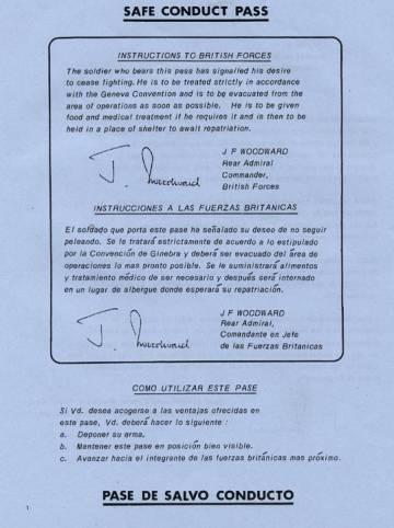 Salvoconducto entregado por Reino Unido a los soldados argentinos.