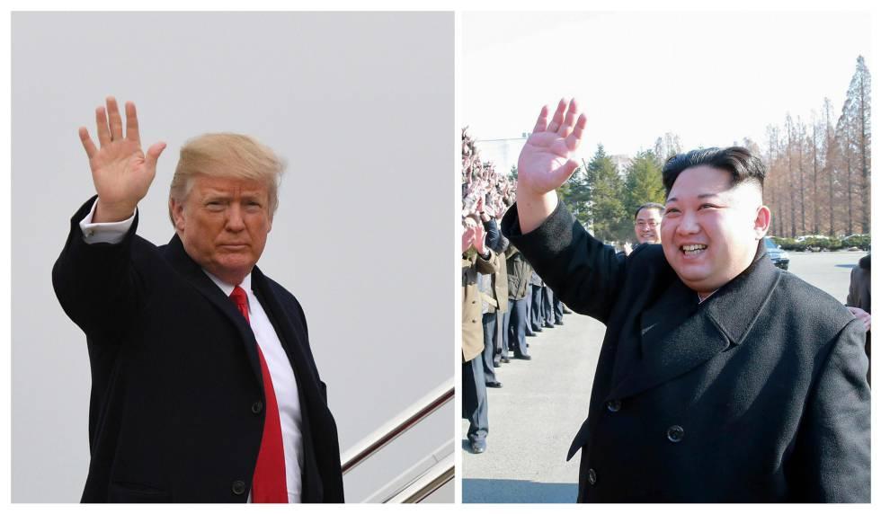 Una combinación de imágenes de Donald Trump y ...