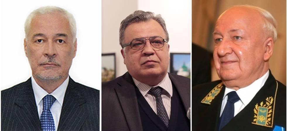 De izquierda a derecha, Mirgayas Shirinski, último fallecido, Andréi Kárlov, asesinado en Estambul, y Alexandr Kadakin, embajador en India muerto en enero.