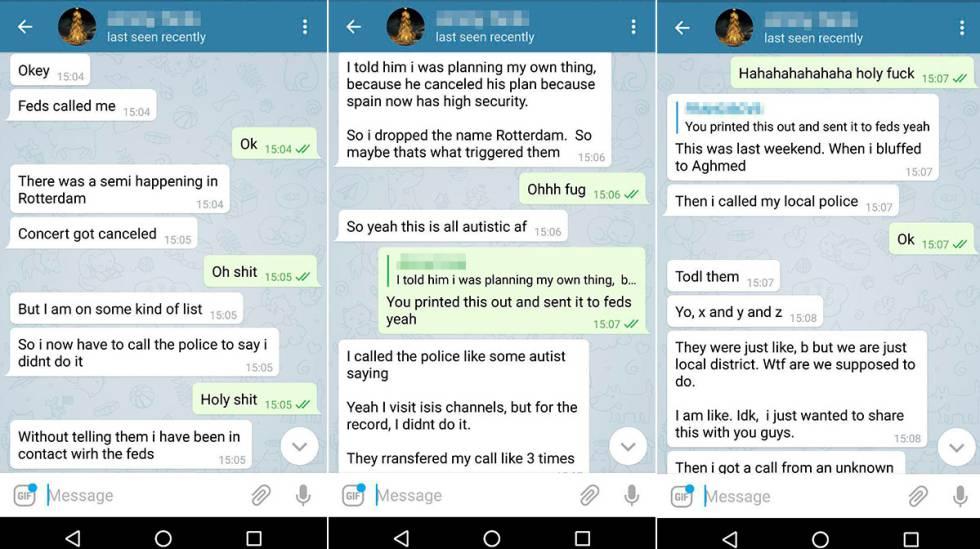 Chat mantenido entre Jimmy F. y uno de sus colegas en la Red en la que admite que ha provocado la alerta terrorista en Róterdam.