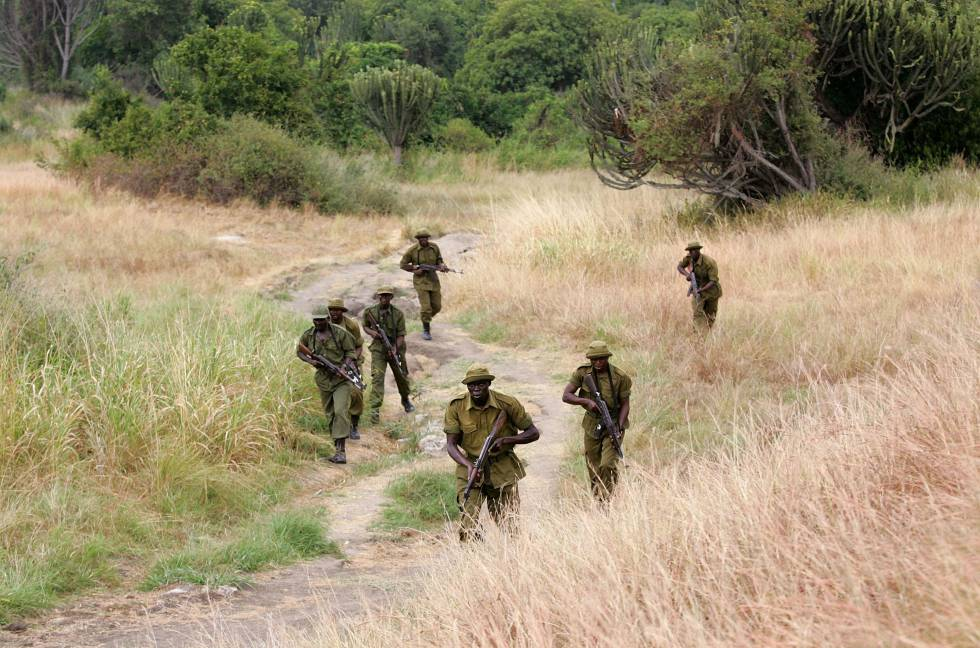 Un grupo de guardabosques patrullan en el interior del Parque Nacional Virunga, en 2006.