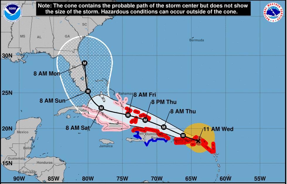 Resultado de imagen para Ubicación actual del huracán Irma