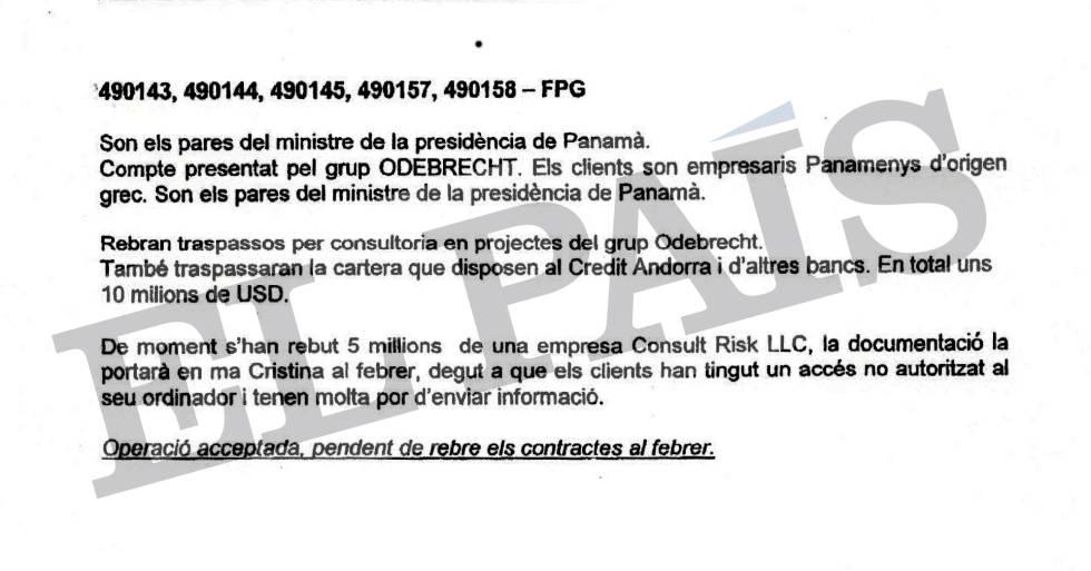 Documento interno de la Banca Privada d'Andorra (BPA) del departamento de compliance (cumplimiento) que menciona la cuenta bancaria de los padres del exprimer ministro de Presidencia de Panamá Demetrio Papadimitriu.