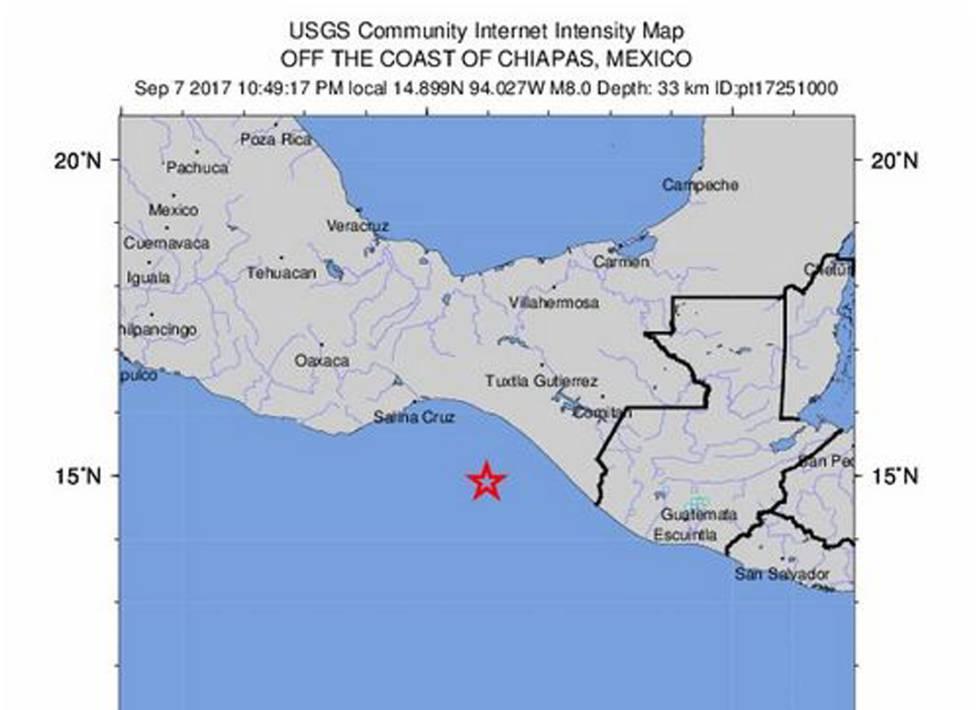 Mapa de la intensidad del terremoto.