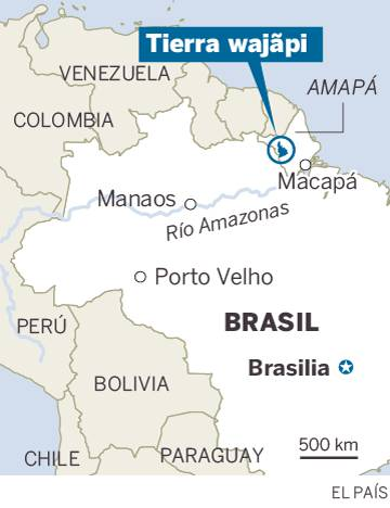 Localización la tierra de los indios Wajãpi.
