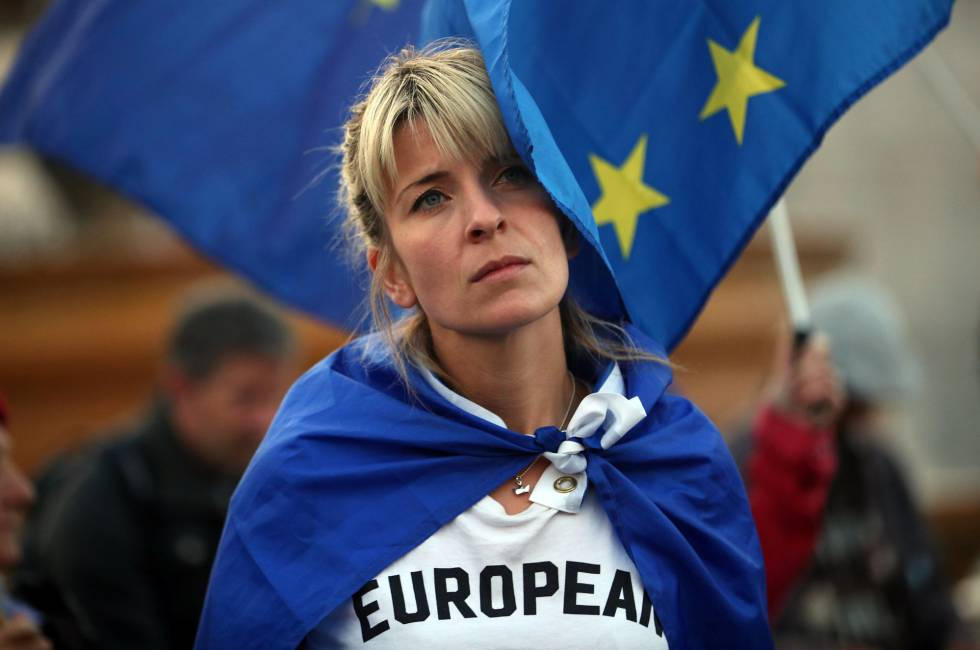 A woman attends an anti-Brexit demonstration in Trafalgar Square in London, Britain, September 13, 2017. REUTERSHannah McKay