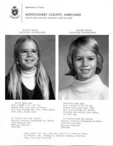 El cartel de desaparición de las hermanas Lyon en 1975