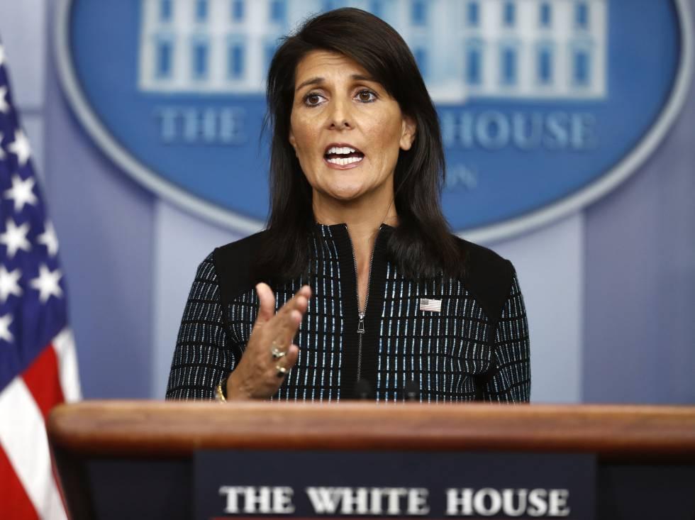 La embajadora de EEUU ante la ONU, Nikki Haley, el viernes pasado en la Casa Blanca.
