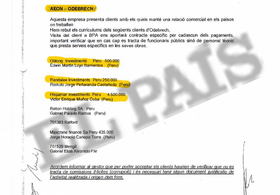 Acta interna de la Banca Privada d'Andorra (BPA) que menciona el depósito del abogado peruano Jorge Horacio Canepa Torre