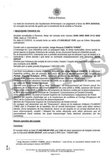 Informe de la Policía de Andorra sobre los presuntos sobornos de Odebrecht a altos funcionarios de Perú.