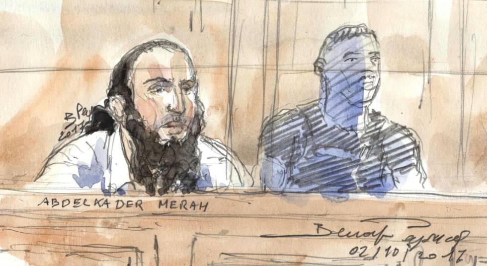 Un dibujo de Abdelkader Merah al inicio del juicio en París
