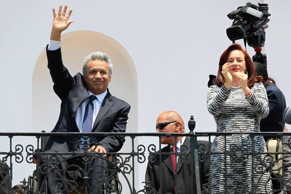 El presidente de Ecuador, Lenín Moreno, y la canciller, María Fernanda Espinosa, el lunes en Quito.