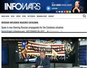 La web Infowars, propaga información falsa sobre el asunto catalán.