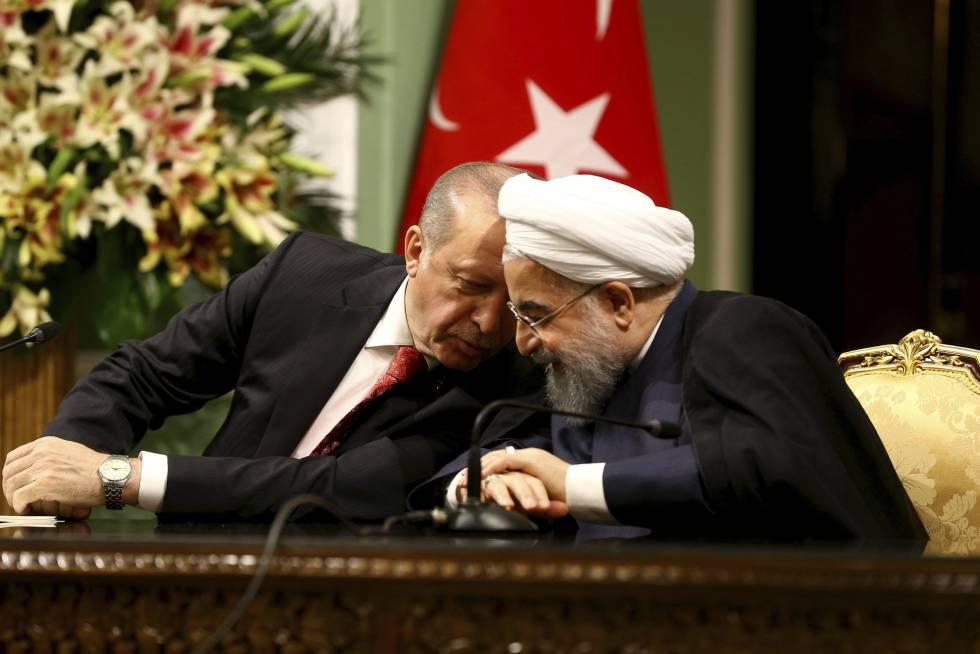 Los presidentes Erdogan y Rohani este miércoles en Teherán.