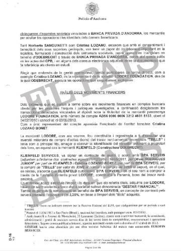 Informe de la Policía de Andorra que recoge la fraudulenta operación de adquisición de Quattor