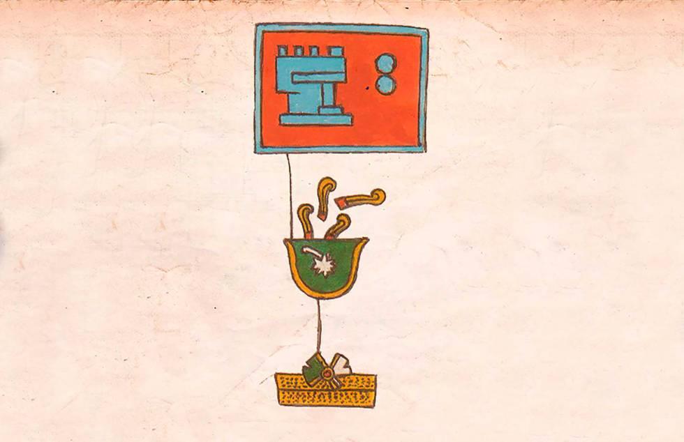 Abajo, el glifo del terremoto. Arriba, el glifo que expresa la temporalidad. La imagen refiere un sismo del México prehispánico.