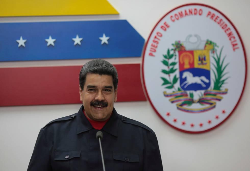 Nicolás Maduro, este domingo en el Palacio de Miraflores.