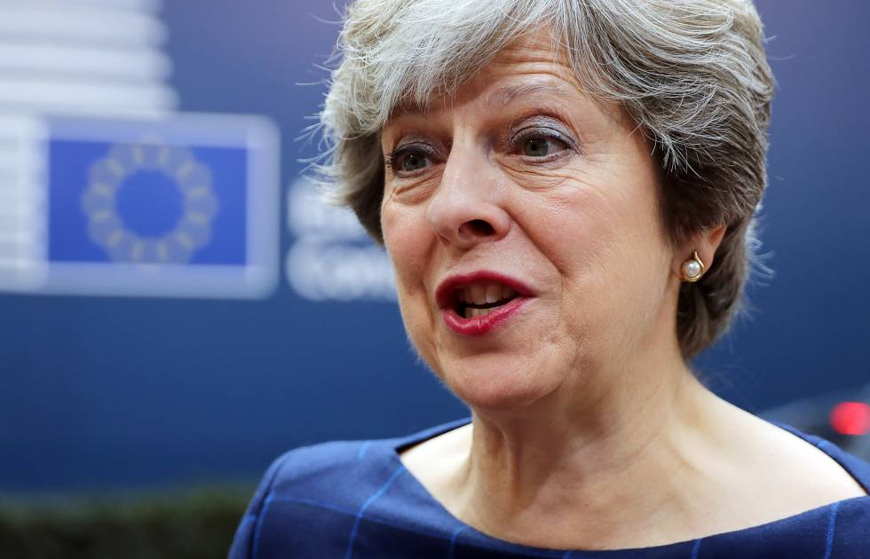 La primera ministra británica, Theresa May, este jueves en Bruselas.