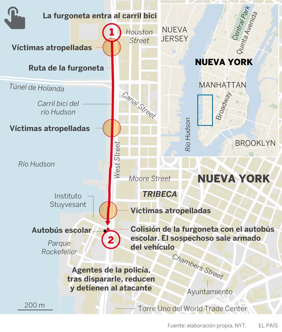 Ocho muertos en un atentado en Nueva York con una furgoneta