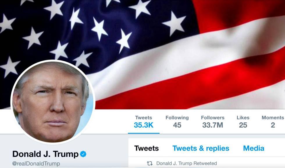 Foto de archivo de la cuenta de Twitter de Trump.