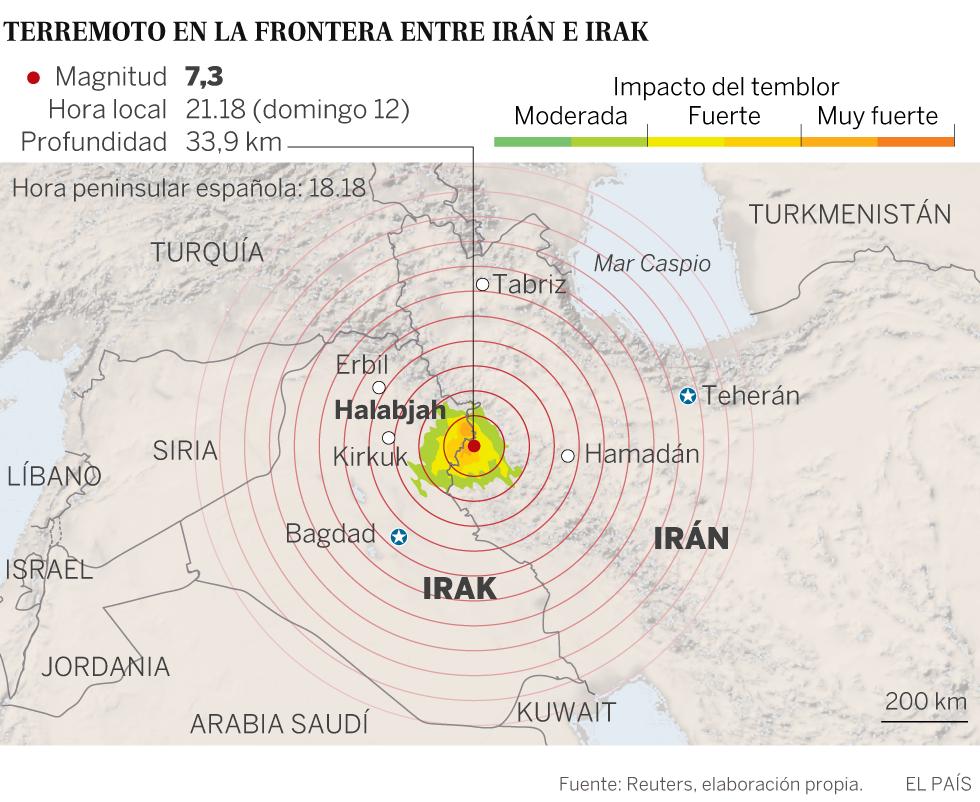 Un terremoto de magnitud 7,3 sacude la frontera entre Irak e Irán y deja más de 400 muertos