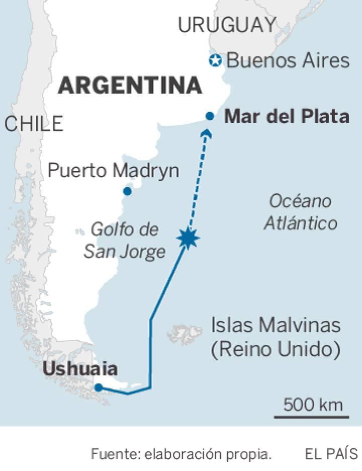 A Marinha argentina confirma explosão na área onde o submarino desapareceu