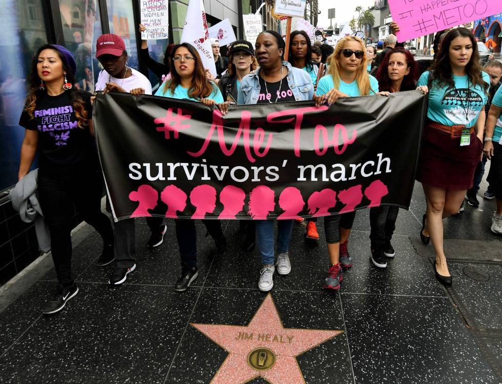 Mulheres vítimas de assédio sexual durante a passeata.