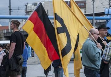 Miembros de Generación Identitaria se manifiestan en Berlín contra la inmigración, el 17 de junio de 2016.