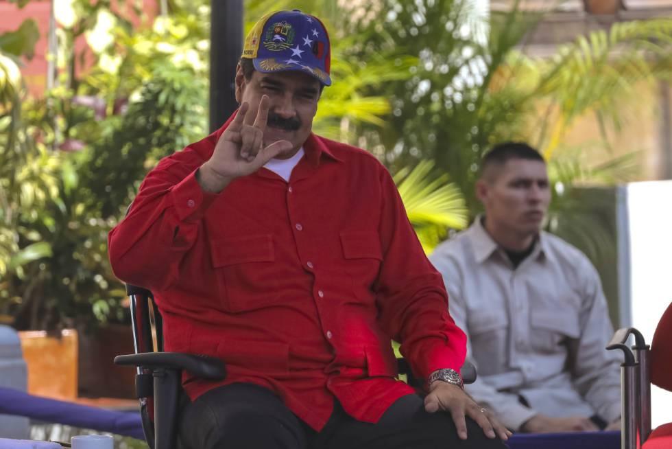 Nicolás Maduro, durante un mitin con seguidores en Caracas.