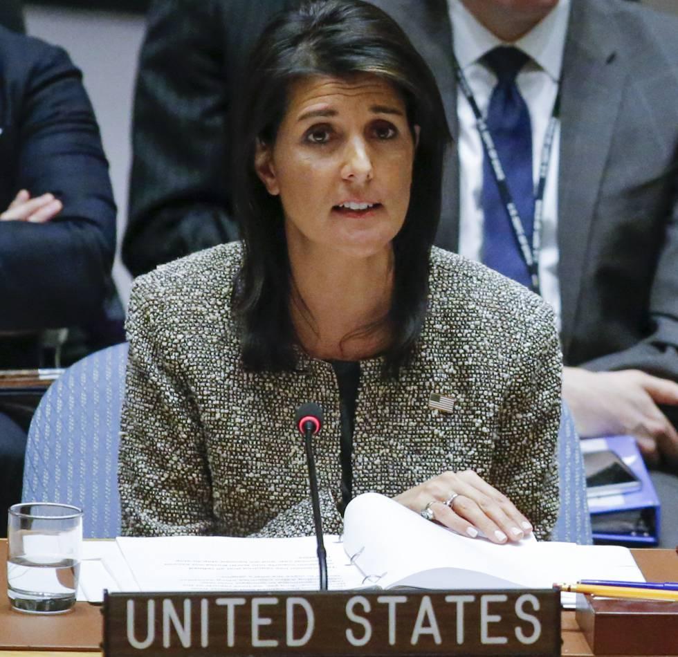 La embajadora de EEUU ante la ONU, Nikki Haley, hoy en el Consejo de Seguridad.