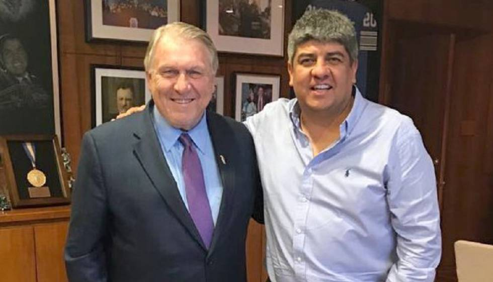 Los sindicalistas Jimmy Hoffa y Pablo Moyano, durante un encuentro Estados Unidos.