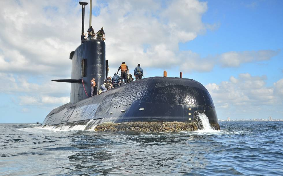 Una imagen de archivo del submarino ARA San Juan, cerca de Buenos Aires.