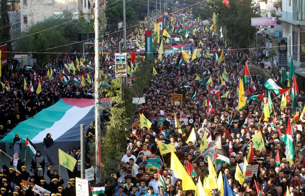 Manifestación en defensa de Jerusalén como capital palestina este lunes en Beirut.