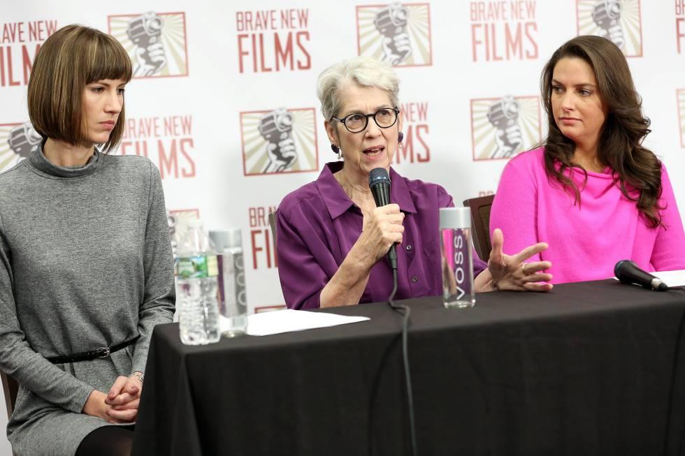 De izquierda a derecha, Rachel Crooks, Jessica Leeds, and Samantha Holvey, supuestas víctimas de acoso sexual de Donald Trump.